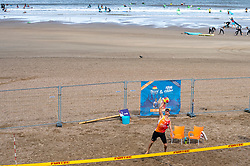 Alexander Brouwer in action. The DELA NK Beach volleyball for men and women will be played in The Hague Beach Stadium on the beach of Scheveningen on 22 July 2020 in Zaandam.