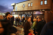 rugby fans soak up the atmosphere ahead of the game.Guinness Pro14 rugby match, Cardiff Blues v Dragons at the Cardiff Arms Park in Cardiff, South Wales on Friday 6th October 2017.<br /> pic by Andrew Orchard, Andrew Orchard sports photography.
