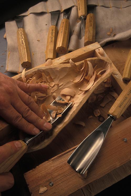Wood mask carving detail