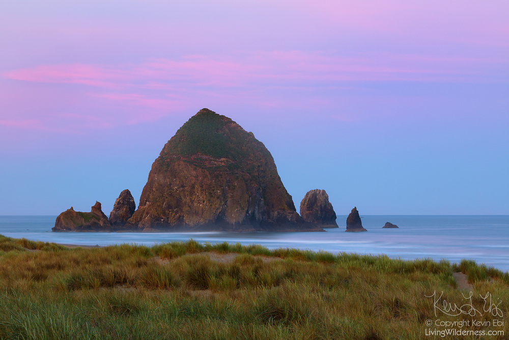 A narrow band of cirrus clouds turn pink at sunrise high in the sky over Haystack Rock, a prominent sea stack on the Oregon coast at Cannon Beach. Haystack Rock is composed of basalt and was formed about 15 million years ago from lava flows emanating from the Blue Mountains and Columbia basin.