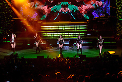 """IRVINE, CA - SEPT 9: Fifth Harmony's 7/27 Tour was met with resounding applause throughout their impressive concert at the Irvine Meadows Amphitheater on September 9th. This incredible production showcased powerful performances  from their sophomore album 7/27, which was released in May. Fan favorites punctuated this astounding show, vibrantly bringing to life their hit summer tracks, such as """"Work from Home,"""" which has surpassed 900 million views on YouTube in the past six months. The band, which includes members Ally Brooke, Normani Kordei, Dinah Jane, Camila Cabello, and Lauren Jauregui put on an energetic performance filled with stunning choreography, powerful vocals and trend-setting outfits. 9th September, 2016 in Costa Mesa, California. Byline, credit, TV usage, web usage or linkback must read SILVEXPHOTO.COM. Failure to byline correctly will incur double the agreed fee. Tel: +1 714 504 6870."""