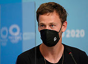 Michael Venus speaks at a press conference during the Tokyo 2020 Olympic Games. Tuesday 27th July 2021. Mandatory credit: © John Cowpland / www.photosport.nz