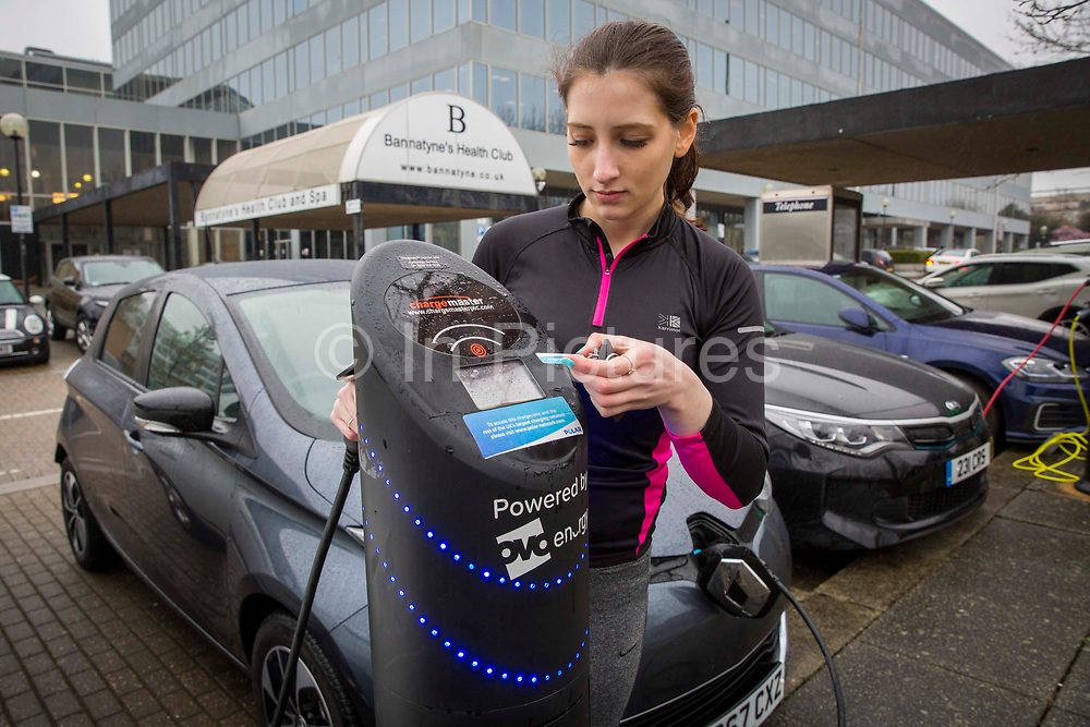 One of the Chargemaster EV charging points as part of the POLAR Network being used outside the Ballantine's Health Club in Milton Keynes, United Kingdom. The POLAR Network has over 6,000 charging points across the United Kingdom.