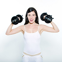 one beautiful young caucasian woman exercising workout weight training happy  on studio isolated white background