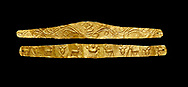 Roman gold decorative jewellery head band, 1st century AD from Hierapolis Gumusler Necropolis. Hierapolis Archaeology Museum, Turkey . Against an black background .<br /> <br /> If you prefer to buy from our ALAMY STOCK LIBRARY page at https://www.alamy.com/portfolio/paul-williams-funkystock/greco-roman-sculptures.html- Type - Hierapolis - into LOWER SEARCH WITHIN GALLERY box - Refine search by adding a subject, place, background colour, museum etc.<br /> <br /> Visit our CLASSICAL WORLD HISTORIC SITES PHOTO COLLECTIONS for more photos to download or buy as wall art prints https://funkystock.photoshelter.com/gallery-collection/The-Romans-Art-Artefacts-Antiquities-Historic-Sites-Pictures-Images/C0000r2uLJJo9_s0c