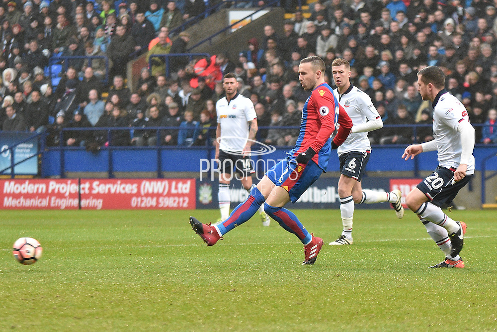Crystal Palace Midfielder, Jordon Mutch (22) during the The FA Cup 3rd round match between Bolton Wanderers and Crystal Palace at the Macron Stadium, Bolton, England on 7 January 2017. Photo by Mark Pollitt.