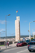 Clock tower on the beach promenade in Figueira da Foz, Portugal