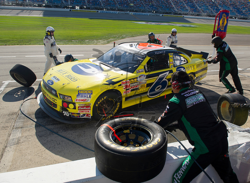 Joliet, IL - SEP 15, 2012:  The NASCAR Nationwide Series teams take to the track for The Dollar General 300 at Chicagoland Speedway in Joliet, IL.