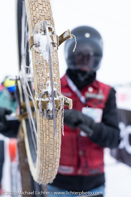 Alexander Propovednik with the bicycle he raced in the Baikal Mile Ice Speed Festival. Maksimiha, Siberia, Russia. Thursday, February 27, 2020. Photography ©2020 Michael Lichter.