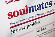 Computer screen showing the website for Guardian Soulmates. Online dating site.