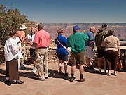 15 AUGUST 2009 -- Tourists look out over the South Rim of the Grand Canyon National Park from the Canyon Village, behind Bright Angel Lodge.  GRAND CANYON NATIONAL PARK: PHOTO BY JACK KURTZ