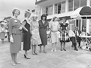 "Best Dressed Lady at Phoenix Park Races.1984..11.08.1984..08.11.1984.11th August 1984..A competition,sponsored by V'Soske Joyce,was held at the Phoenix Park Racecourse,Dublin.The prize of a hand tufted rug was awarded to the ""Best Dressed Lady"" on Ladies Day at the racecourse. The eventual winner was Brianne Leary from Los Angeles,California..Image of the lady finalists as they line up for the judges at Phoenix Park Racecourse. (L-R),.Ms Carmel Healy,Oughterard,Galway,.Ms Colette Hayes,Castleknock,Dublin,.Ms Carmen Kealy,Clane,Kildare,.Ms Helen Cuddy,Howth,Dublin,.Ms Brianne Leary,Los Angeles,California and.Ms June Cosgrove,Kildare."