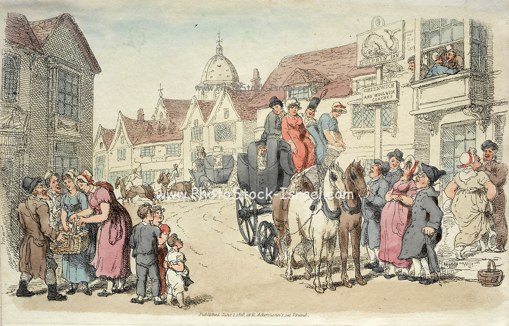 Dolphins Inn: Greenwich and Woolwich Coaches 1816 Thomas Rowlandson (British, 1756-1827) England, 19th century