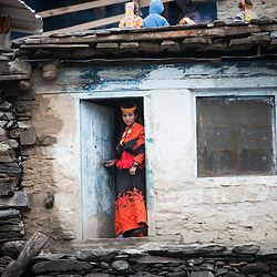 Bumburet, Chitral District,Pakistan.Pic Shows A Kalash woman in the Kalash village in the valley of Bumburet