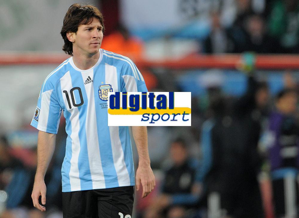 Fotball<br /> VM 2010<br /> 12.06.2010<br /> Argentina v Nigeria<br /> Foto: Witters/Digitalsport<br /> NORWAY ONLY<br /> <br /> Lionel Messi (Argentinien)<br /> Fussball WM 2010 in Suedafrika, Vorrunde, Argentinien - Nigeria