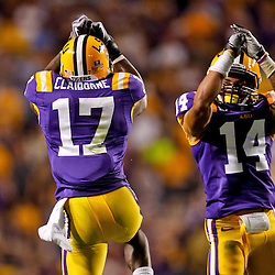 October 16, 2010; Baton Rouge, LA, USA; LSU Tigers cornerback Morris Claiborne (17) celebrates with cornerback Tyrann Mathieu (14) following an interception against the McNeese State Cowboys during the second half at Tiger Stadium. LSU defeated McNeese State 32-10. Mandatory Credit: Derick E. Hingle