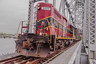 The Mass Coastal train crossing the Cape Cod Canal on the railroad bridge in Bourne.