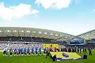 Brighton and Hove Albion and Crystal Palace players line up before the Premier League match between Brighton and Hove Albion and Crystal Palace at the American Express Community Stadium, Brighton and Hove, England on 29 February 2020.