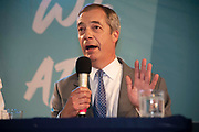 Brexit Party leader Nigel Farage answers media questions at an event to introduce prospective parliamentary candidates in central London, United Kingdom on 27th August, 2019.