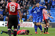 Cardiff City's Anthony Pilkington (13) celebrates after scoring Cardiff's fourth goal. EFL Skybet championship match, Cardiff city v Sunderland at the Cardiff city stadium in Cardiff, South Wales on Saturday 13th January 2018.<br /> pic by Carl Robertson, Andrew Orchard sports photography.