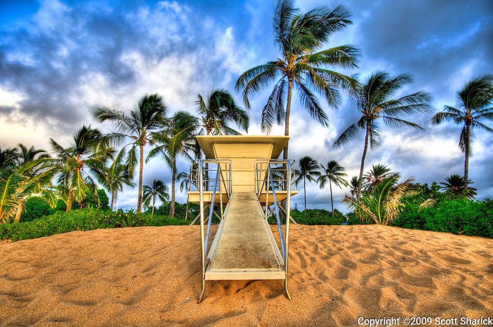 A closed lifeguard stand in Haleiwa, Hawaii.