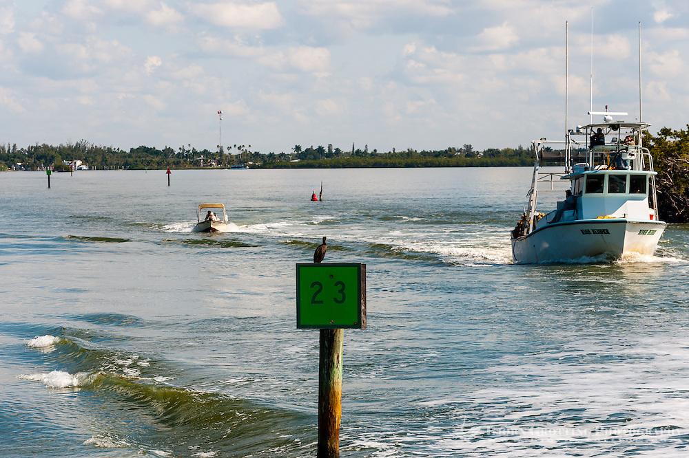 US, Florida. Ten Thousand Islands, Everglades. Fishing boat outside Everglades City.