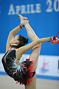 Vass Dora during qualifying at clubs in Pesaro World Cup at Adriatic Arena on April 27, 2013. Dora was born in Budapest on September 08,1991. She is a rhythmic gymnast since 1999 and member of the Hungarian National Team since 2004.