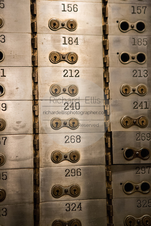 Safe deposit boxes in the underground vault at the Chicago Board of Trade October 20, 2013 in Chicago, IL. The vault was opened for the first time in 83-years for public tours.
