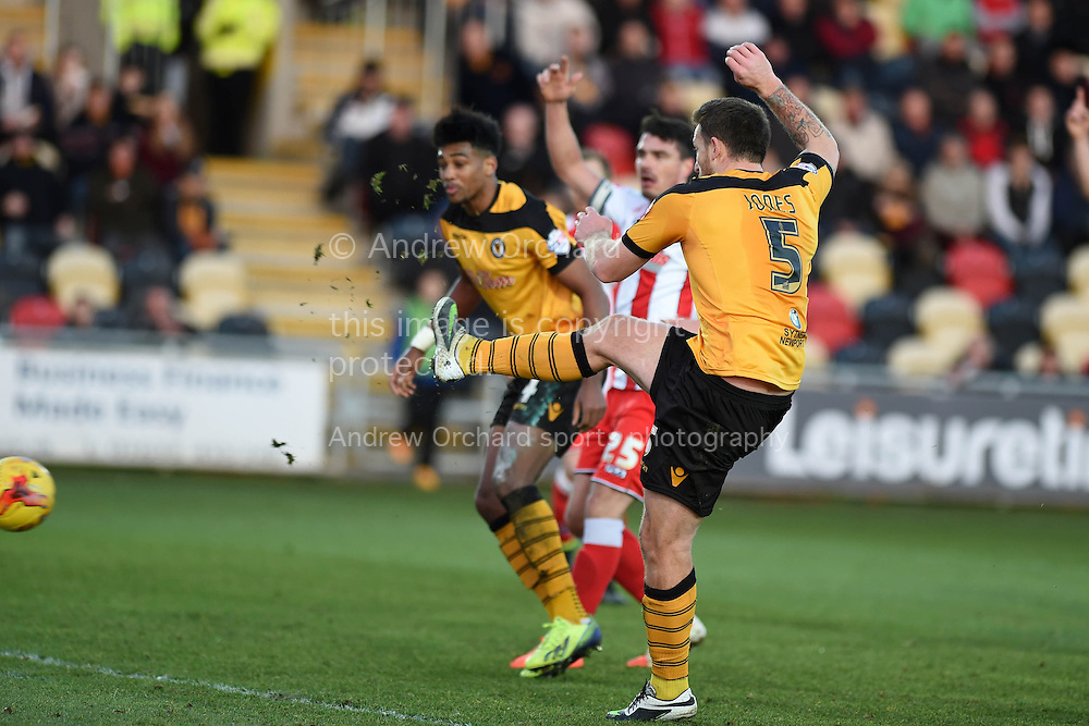 Newport county's Darren Jones (5) scores his teams 2nd goal.  Skybet football league two match, Newport county v Stevenage at Rodney Parade in Newport, South Wales on Saturday 13th December 2014<br /> pic by Andrew Orchard, Andrew Orchard sports photography.