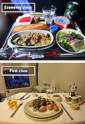 Airline Food: Economy Vs. First Class <br /> <br /> What used to be a woman's size 12 in 1968 is a woman's size 4 today; what used to be third-class is economy-class today. What changed? We've grown more sensitive: I'm not overweight, I still fit into a size 12. I'm not a third-class passenger, I'm a price conscious individual that rides in economy-class.<br /> Despite the name games, airline food hasn't changed much. Economy class meals still come in a wrapper, and business or first-class meals come with real cutlery. This list shows the sometimes striking difference between what the different classes eat.<br /> <br /> Photo shows: Air Fance<br /> ©Exclusivepix Media