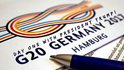 """Donald Trump releases a photo on Instagram with the following caption: """"#ICYMI - DAY ONE with President Donald J. Trump at the 2017 #G20Summit in #Hamburg, #Germany. \n#USA"""". Photo Credit: Instagram *** No USA Distribution *** For Editorial Use Only *** Not to be Published in Books or Photo Books ***  Please note: Fees charged by the agency are for the agency's services only, and do not, nor are they intended to, convey to the user any ownership of Copyright or License in the material. The agency does not claim any ownership including but not limited to Copyright or License in the attached material. By publishing this material you expressly agree to indemnify and to hold the agency and its directors, shareholders and employees harmless from any loss, claims, damages, demands, expenses (including legal fees), or any causes of action or allegation against the agency arising out of or connected in any way with publication of the material."""