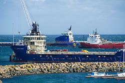 Oil and gas field support vessels in Peterhead bay, Peterhead, Aberdeenshire, Scotland, UK.<br /> Photo: Ed Maynard<br /> 07976 239803<br /> www.edmaynard.com