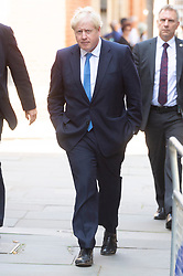 © Licensed to London News Pictures. 23/07/2019. London, UK. Conservative Party leader candidate Boris Johnson MP arrives at his campaign HQ in Westminster after winning the leadership election. Photo credit: Ray Tang/LNP