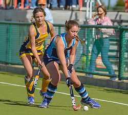 Torey Wiget-Beattie of Springfield(blue) and Lizanne Jacobs during day two of the FNB Private Wealth Super 12 Hockey Tournament held at Oranje Meisieskool in Bloemfontein, South Africa on the 7th August 2016, <br /> <br /> Photo by:   Frikkie Kapp / Real Time Images