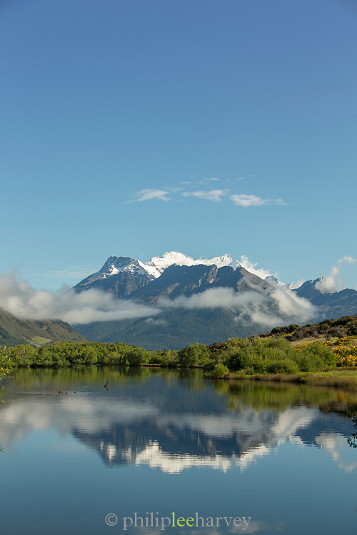 Landscape with view of the majestic Humboldt Mountains across the Lake Wakatipu, Glenorchy, South Island, New Zealand