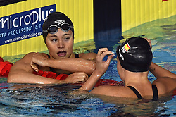 August 5, 2018 - Glasgow, UNITED KINGDOM - Belgian swimmer Valentine Dumont and Spanish Melanie Costa Schmid pictured after their race of the semi-finals of the women's 200m Freestyle event at the European Championships, in Glasgow, Scotland, Sunday 05 August 2018. European championships of several sports are held in Glasgow from 03 to 12 August...BELGA PHOTO ERIC LALMAND (Credit Image: © Eric Lalmand/Belga via ZUMA Press)