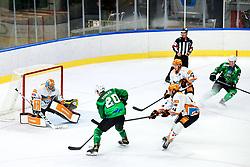 Gregor Koblar of HK SZ Olimpija vs Thomas Hoeneckl of Black Wings Linz during ice hockey match between HK SZ Olimpija Ljubljana and Steinbach Black Wings Linz in bet-at-home ICE Hockey League, on September 26, 2021 in Hala Tivoli, Ljubljana, Slovenia. Photo by Morgen Kristan / Sportida