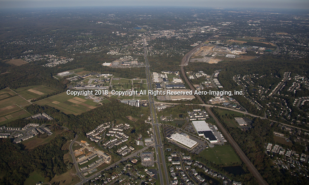 Aerial view of the The Retreat at Newark, commercial student housing property located at 501 Hamlet Way, Newark, DE 19711.<br /> View North towards Wilmington.  Retreat is on top 3rd of image in the middle.