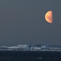 Orange & Blue - Antarctic Peninsula, Antarctica<br /> <br /> Moon rises over the sheet ice and icebergs near the Antarctic Circle.