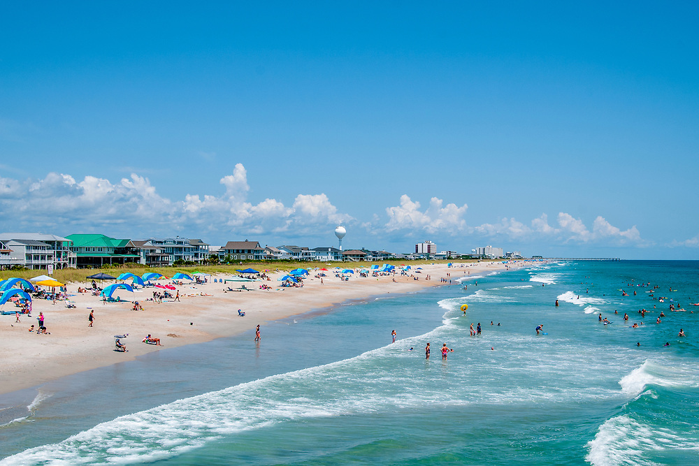 View of the beach from the Oceanic - a waterfront restaurant on an old fishing pier - in Wrightsville Beach, North Carolina on Tuesday, August 10, 2021. Copyright 2021 Jason Barnette