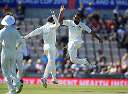 India's Mohammed Shami celebrates taking the wicket of England's Stuart Broad during day four of the fourth test at the AGEAS Bowl, Southampton.
