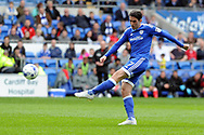 Cardiff's Peter Whittingham shoots at goal. EFL Skybet championship match, Cardiff city v Nottingham Forest at the Cardiff City Stadium in Cardiff, South Wales on Easter Monday 17th April 2017.<br /> pic by Carl Robertson, Andrew Orchard sports photography.