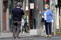 Daily life in Madrid, after new lockdown regulations in Spain, on May 02, 2020. Gran Via in Madrid during the first day in which the general departures of almost the entire population are allowed, regulated by time bands. Two strips are established, in the morning and afternoon, so that those over 14 years old can go out to physically exercise individually or walk. These strips extend from 06:00 to 10:00 in the morning and from 20:00 to 23:00 at night. Separately and in attention to their special vulnerability, the strips between 10:00 a.m. and 12:00 p.m. and between 7:00 p.m. and 8:00 p.m. are defined specifically for the walks of people with special needs or those over 70 years. The walks with kids from 12:00 to 19:00. Health crisis due to the Covid-19 virus pandemic. Photo by Alejandro de Dios/AlterPhotos/ABACAPRESS.COM