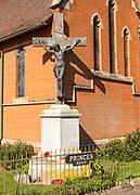Church of St John the Baptist, Felixstowe, Suffolk, England, UK war memorial Jesus Christ on the Cross Crucifixion sculpture