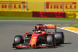 August 30, 2019, Spa Francorchamps, Belgium: Ferrari Driver SEBASTIAN VETTEL (GER) in action during the second free practice session of the Formula one Belgian Grand Prix at the SPA Francorchamps circuit - Belgium (Credit Image: © Pierre Stevenin/ZUMA Wire)