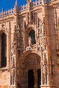 PORTUGAL, LISBON Mosteiro (Monastery) dos Jeronimos 15thc, masterpiece of 'Manueline' architecture; spectacular entrance to the church