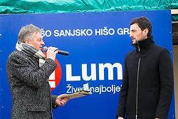 Ciril Globocnik and Jakov Fak during Presentation of new house of Jakov Fak, made by Lumar, on February 26, 2018 in Lesce, Lesce, Slovenia. Photo by Ziga Zupan / Sportida