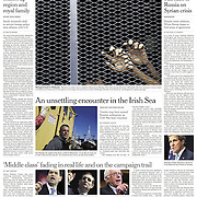"""Tearsheet of """"Cold War fears in Irish Sea"""" published in The New York Times (Front page)"""