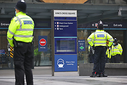 © Licensed to London News Pictures. 28/11/2020. London, UK. A heavy police presence at Kings Cross Station ahead of planned anti-lockdown protests. Tiered restrictions will be reintroduced when the England-wide lockdown ends on 2 December. Photo credit: Rob Pinney/LNP