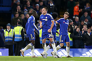 John Terry, the Chelsea captain celebrate towards the fans after scoring his sides 3rd goal to make it 3-3. Barclays Premier league match, Chelsea v Everton at Stamford Bridge in London on Saturday 16th January 2016.<br /> pic by John Patrick Fletcher, Andrew Orchard sports photography.
